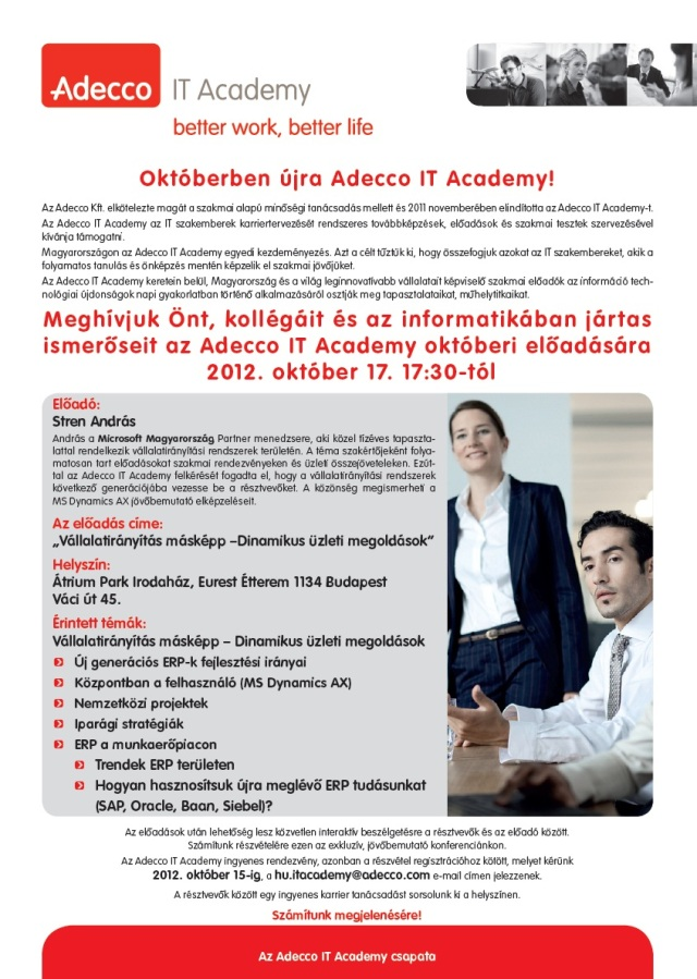 Adecco IT Academy Meghívó 2012.10.17.